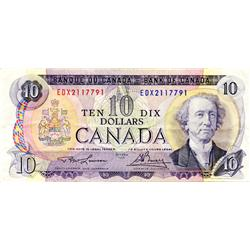 BANK OF CANADA.  $10.00.  1971 Issue.  BC-49cA-i.  No. EDX2117791.  Fine.