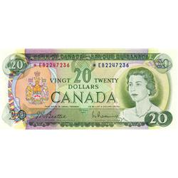 BANK OF CANADA.  $20.00.  1969 Issue.  BC-50aA.  No. *EB2247236.  Unc-60.
