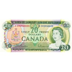 BANK OF CANADA.  $20.00.  1969 Issue.  BC-50aA.  No. *EM2950035.  CCCS graded Extra Fine-40.