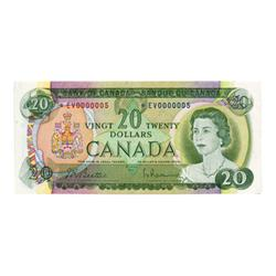 BANK OF CANADA.  $20.00.  1969 Issue.  BC-50aA.  No. *EV0000005.  BCS graded Choice Almost Unc-58.