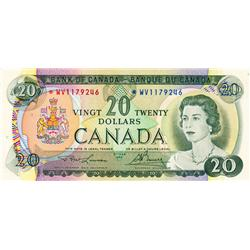 BANK OF CANADA.  $20.00.  1969 Issue.  BC-50aA.  No. *WV1179246.  PCGS graded AU-53. PPQ.