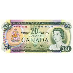 BANK OF CANADA.  $20.00.  1969 Issue.  BC-50bA.  No. *WV1151261.  PCGS graded Choice AU-55. PPQ.