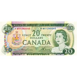 BANK OF CANADA.  $20.00.  1969 Issue.  BC-50bA.  No. *WV1240545.  CCCS graded Extra Fine-45. 'pin ho