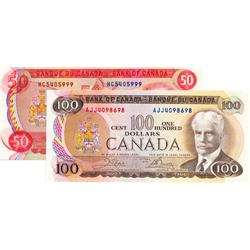 BANK OF CANADA.  $50.00.  1975 Issue.  BC-51a.  Lawson-Bouey.  No. HC405999.  AU;  $100.00.  1975 Is