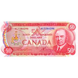 BANK OF CANADA.  $50.00.  1975 Issue.  BC-51a.  Lawson-Bouey.  No. HC7286294.  CCCS graded Choice Un