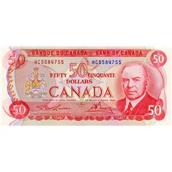 BANK OF CANADA.  $50.00.  1975 Issue.  BC-51a.  Lawson-Bouey.  No. HC5584755.  Choice Unc-63.