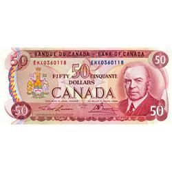 BANK OF CANADA.  $50.00.  1975 Issue.  BC-51aA-i.  No. ENX0360118.  PCGS graded Extra Fine-45.  Anot