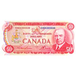 BANK OF CANADA.  $50.00.  1975 Issue.  BC-51a-i.  Lawson-Bouey.  No. EHC4203320 & EHF0605710.  Both