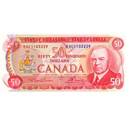 BANK OF CANADA.  $50.00.  1975 Issue.  BC-51a-i.  Lawson-Bouey.  No. EHE1103229 & EHF0605711.  Both