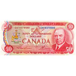 BANK OF CANADA.  $50.00.  1975 Issue.  BC-51a-i.  Lawson-Bouey.  No. EHF0378480 & EHF03788481.  Both