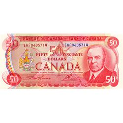 BANK OF CANADA.  $50.00.  1975 Issue.  BC-51a-i.  Lawson-Bouey.  No. EHF0605714.  CCCS graded Choice