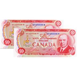 BANK OF CANADA.  $50.00.  1975 Issue.  BC-51b.  Crow-Bouey.  No. EFA5332818 & EFA5332819.  Lot of tw