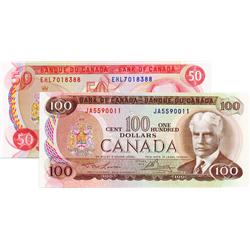 BANK OF CANADA.  $50.00.  1975 Issue.  BC-51b.  Crow-Bouey.  No. EHL7018388.  Unc;  $100.00.  1975 I