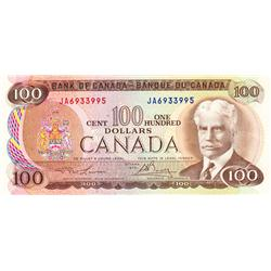 BANK OF CANADA.  $100.00.  1975 Issue.  BC-52a.  Lawson-Bouey.  No. JA6933995.  CCCS graded Unc-60.