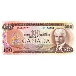 BANK OF CANADA.  $100.00.  1975 Issue.  BC-52a.  Lawson-Bouey.  No. JB6180739.  CCCS graded Choice U