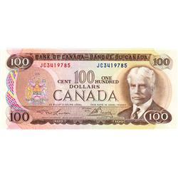 BANK OF CANADA.  $100.00.  1975 Issue.  BC-52a.  Lawson-Bouey.  No. JC3419785 & JC3419786.  Both CCC