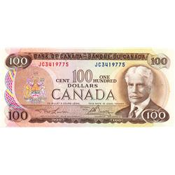 BANK OF CANADA.  $100.00.  1975 Issue.  BC-52a.  Lawson-Bouey.  No. JC3419775 & JC3419776.  Both CCC