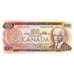 BANK OF CANADA.  $100.00.  1975 Issue.  BC-52a.  Lawson-Bouey.  No. JC3419773.  CCCS graded Choice U