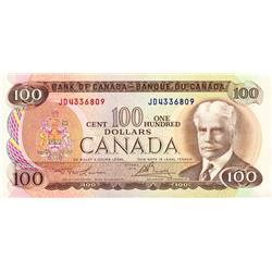 BANK OF CANADA.  $100.00.  1975 Issue.  BC-52a.  Lawson-Bouey.  No. JD4336809.  CCCS graded Choice U