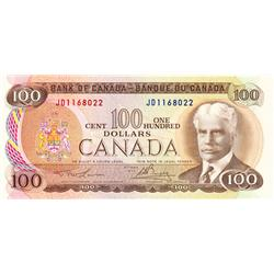 BANK OF CANADA.  $100.00.  1975 Issue.  BC-52a.  Lawson-Bouey.  No. JD1168022.  CCCS graded AU-55.
