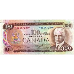 BANK OF CANADA.  $100.00.  1975 Issue.  BC-52aA.  Lawson-Bouey.  No. *JA6472299.  Very Fine.  Some w
