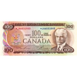 BANK OF CANADA.  $100.00.  1975 Issue.  BC-52aA.  No. *JA6532503.  PCGS graded Very Fine-35.