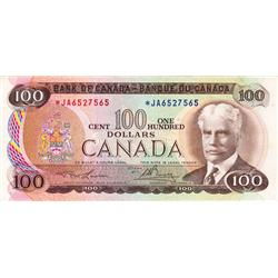 BANK OF CANADA.  $100.00.  1975 Issue.  BC-52aA.  Lawson-Bouey.  No.*JA6527565.  PCGS graded Very Fi