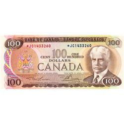 BANK OF CANADA.  $100.00.  1975 Issue.  BC-52aA.  Lawson-Bouey.  No. *JC1433260.  PCGS Choice AU-58.