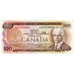 BANK OF CANADA.  $100.00.  1975 Issue.  BC-52aA.  Lawson-Bouey.  No. *JC1473603.  Very Fine.