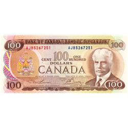 BANK OF CANADA.  $100.00.  1975 Issue.  BC-52a-i.  Lawson-Bouey.  No. AJB5267251.  CCCS graded Choic