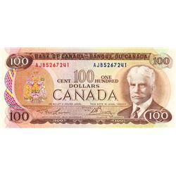BANK OF CANADA.  $100.00.  1975 Issue.  BC-52a-i.  Lawson-Bouey.  No. AJB5267241.  CCCS graded Choic
