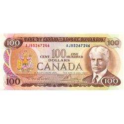 BANK OF CANADA.  $100.00.  1975 Issue.  BC-52a-i.  Lawson-Bouey.  No. AJB5267246 & AJB5267247.  Both