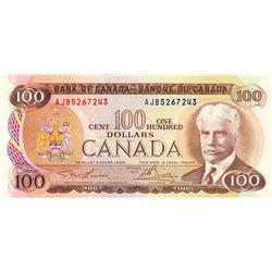 BANK OF CANADA.  $100.00.  1975 Issue.  BC-52a-i.  Lawson-Bouey.  No. AJB5267243 & AJB5267245.  CCCS