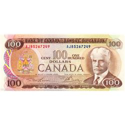 BANK OF CANADA.  $100.00.  1975 Issue.  BC-52a-i.  Lawson-Bouey.  No. AJB5267249.  CCCS graded Choic