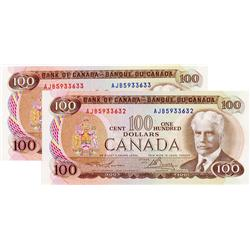 BANK OF CANADA.  $100.00.  1975 Issue.  BC-52a-i.  Lawson-Bouey.  No. AJB5933632 & AJB5933633.  Lot