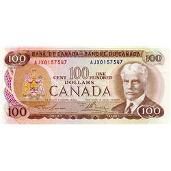 BANK OF CANADA.  $100.00.  1975 Issue.  BC-52aA-i.  Lawson-Bouey.  No. AJX0157547.  Very Fine.