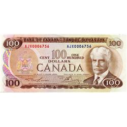 BANK OF CANADA.  $100.00.  1975 Issue.  BC-52aA-i.  Lawson-Bouey.  No. AJX0006756.  Very Fine.