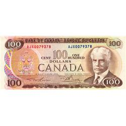 BANK OF CANADA.  $100.00.  1975 Issue.  BC-52aA-i.  Lawson-Bouey.  No. AJX0079376.  PCGS graded Very