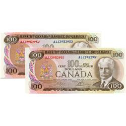BANK OF CANADA.  $100.00.  1975 Issue.  BC-52b.  Crow-Bouey.  No. AJJ2952951 & AJJ2952952.  Lot of t