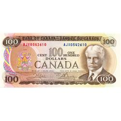 BANK OF CANADA.  $100.00.  1975 Issue.  BC-52bA.  No. AJX0542610.  PCGS graded Gem Unc-66.  PPQ.