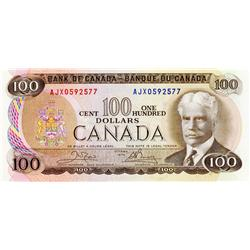 BANK OF CANADA.  $100.00.  1975 Issue.  BC-52bA.  Crow-Bouey.  No. AJX0592577.  CU.