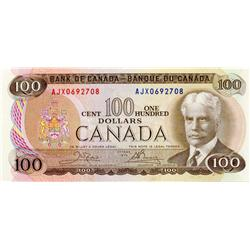 BANK OF CANADA.  $100.00.  1975 Issue.  BC-52bA.  Crow-Bouey.  No. AJX0692708.  CU.