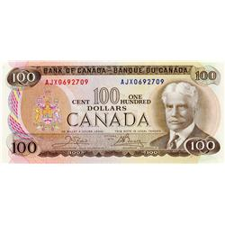 BANK OF CANADA.  $100.00.  1975 Issue.  BC-52bA.  Crow-Bouey.  No. AJX0692709.  Unc.