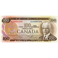 BANK OF CANADA.  $100.00.  1975 Issue.  BC-52bA.  Crow-Bouey.  No. AJX0597295.  Bright and crisp AU-