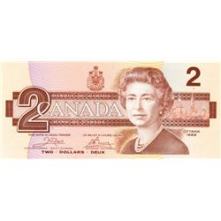 BANK OF CANADA.  $2.00.  1986 Issue.  BC-55a.  Crow-Bouey.  No. AUH4858932.  CCCS graded Gem Unc-65.
