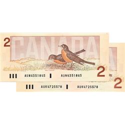 BANK OF CANADA.  $2.00.  1986 Issue.  BC-55a.  Crow-Bouey.  No. AUN4351845.  No. AUK4725578.  Both C