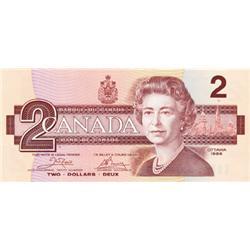 BANK OF CANADA.  $2.00.  1986.  BC-55a.  No. AUH3615413.  PCGS graded Gem Unc-68. PPQ.