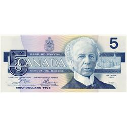 BANK OF CANADA.  $5.00.  1986 Issue.  BC-56aA.  Crow-Bouey.  Yellow B.P.N.  No.  ENX0831988.  CU.