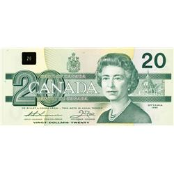 BANK OF CANADA.  $20.00.  1991 Issue.  BC-58aA-i.  Thiessen-Crow. No. EIX2745926 & EIX2745927. With
