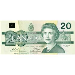 BANK OF CANADA.  $20.00.  1991 Issue.  BC-58aA-i.  Thiessen-Crow. No. EIX2745928 & EIX2745929. With